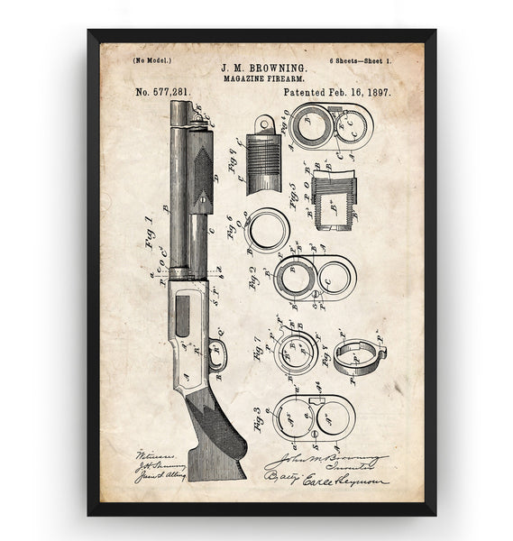 Browning Magazine Shotgun Firearm 1897 Patent Print - Magic Posters