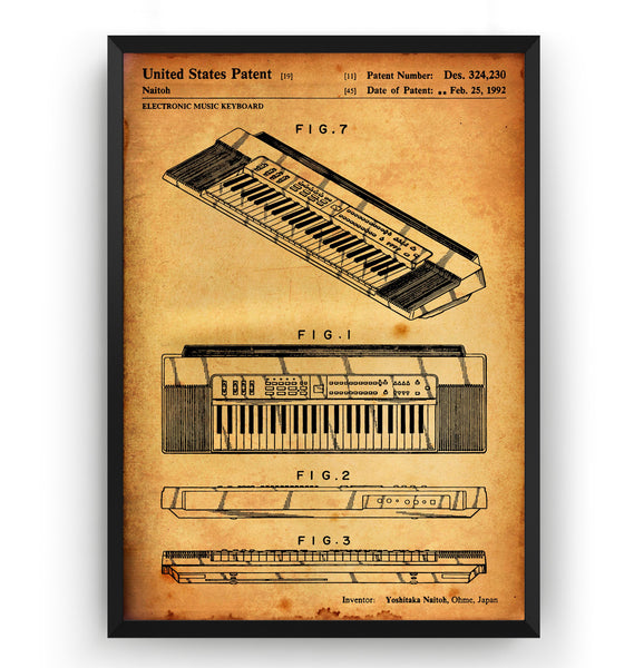 Casio Keyboard 1992 Patent Print - Magic Posters