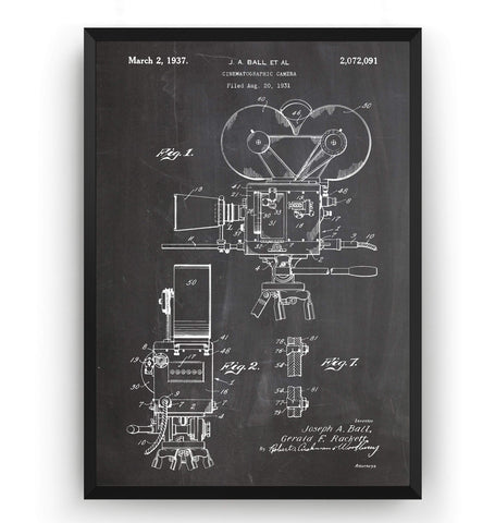 Cinematographic Camera 1937 Patent Print - Magic Posters