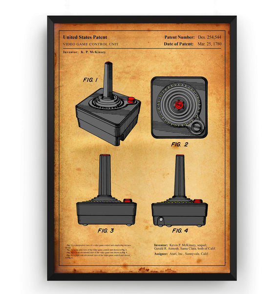 Colourised Atari Joystick Patent Print - Magic Posters