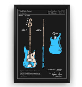 Colourised Fender Precision Bass Guitar 1960 Patent Print - Magic Posters