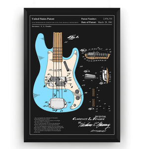 Colourised Fender Precision Bass Guitar 1961 Patent Print - Magic Posters