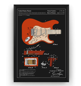 Colourised Fender Stratocaster 1954 Guitar Patent Print - Magic Posters