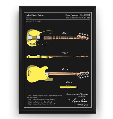 Colourised Fender Telecaster Bass Guitar 1953 Patent Print - Magic Posters
