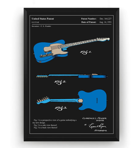 Colourised Fender Telecaster Guitar 1951 Patent Print - Magic Posters