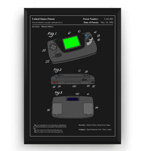 Colourised Game Gear Patent Print - Magic Posters