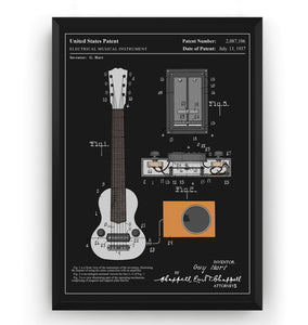 Colourised Gibson E-150 Guitar 1937 Patent Print - Magic Posters