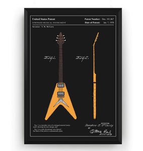 Colourised Gibson Flying V Guitar Patent Print - Magic Posters