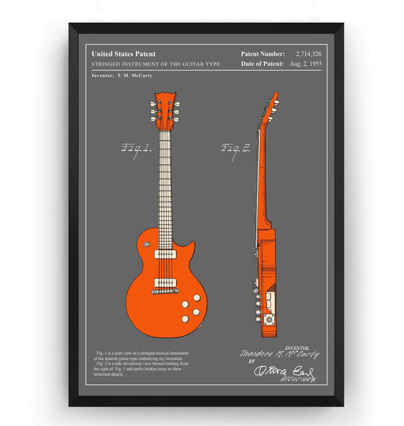 Colourised Gibson Les Paul Guitar Patent Print - Magic Posters