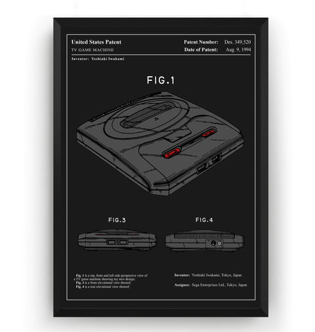 Colourised Mega Drive Patent Print - Magic Posters