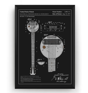 Colourised Rickenbacker Electric Guitar Ro-Pat-In Frying Pan Patent Print - Magic Posters