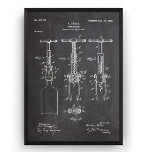 Corkscrew 1898 Patent Print - Magic Posters