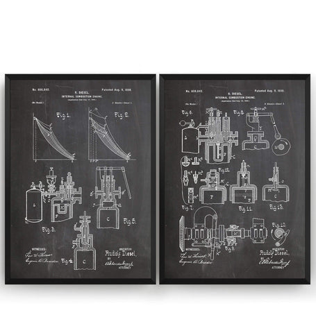 Diesel Combustion Engine Set Of 2 Patent Prints - Magic Posters