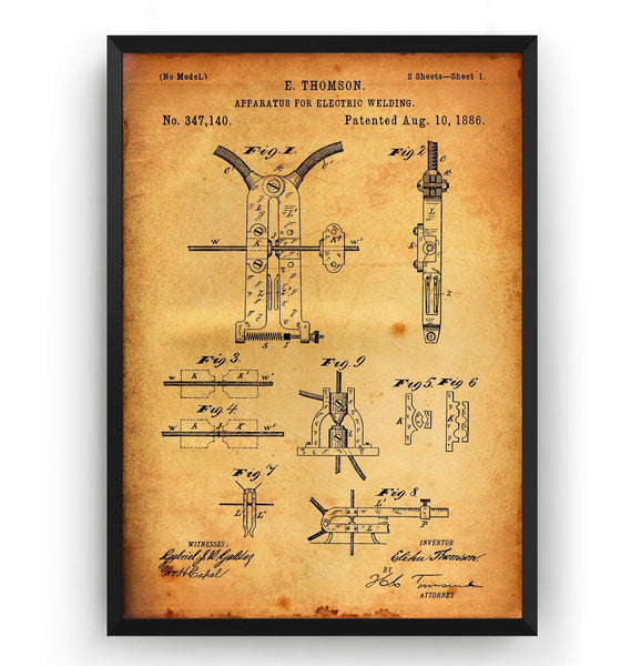 Electric Welding Machine 1886 Patent Print - Magic Posters