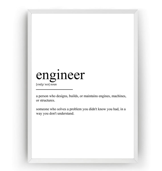 Engineer Definition Print - Magic Posters