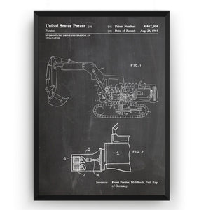 Excavator 1984 Patent Print - Magic Posters