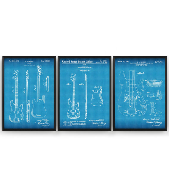 Fender Bass Guitars Set Of 3 Patent Prints - Magic Posters