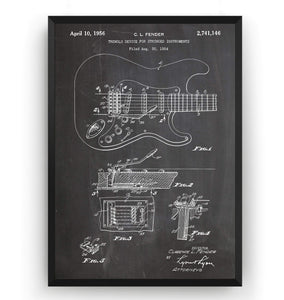 Fender Stratocaster 1954 Guitar Patent Print - Magic Posters