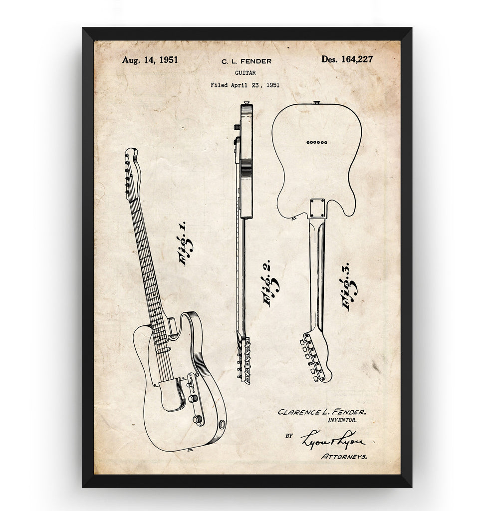 Unframed Colourised Fender Telecaster Guitar 1951 Patent Print Poster Art