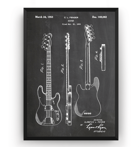 Fender Telecaster 1953 Bass Guitar Patent Print - Magic Posters
