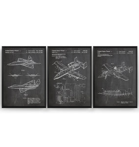 Fighter Plane Aircraft Set Of 3 Patent Prints - Magic Posters