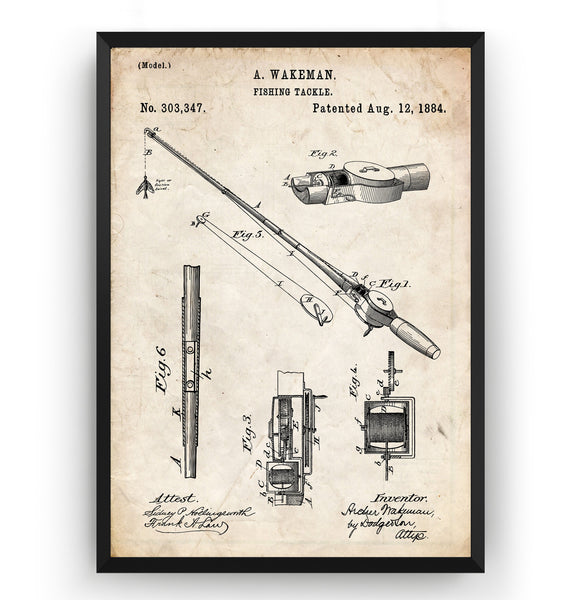 Fishing Rod and Reel 1884 Patent Print - Magic Posters