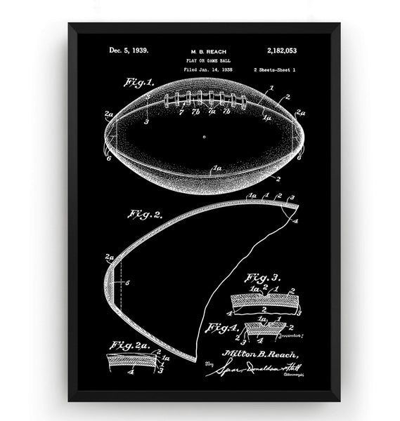 Football Game Ball 1938 Patent Print - Magic Posters
