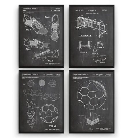 Football Set Of 4 Patent Prints - Magic Posters