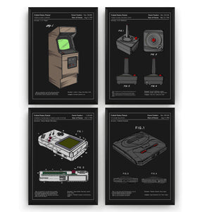 Gaming Set Of 4 Colourised Patent Prints - Magic Posters