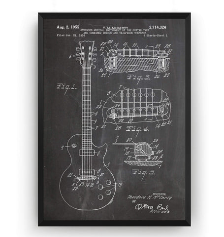 Gibson Les Paul Guitar Patent Print - Magic Posters