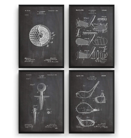 Golf Set Of 4 Patent Prints - Magic Posters