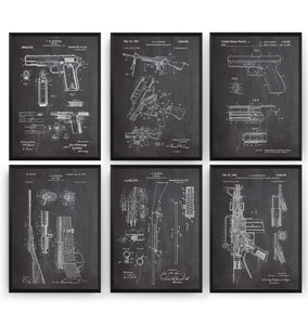 Gun Set Of 6 Patent Prints - Magic Posters