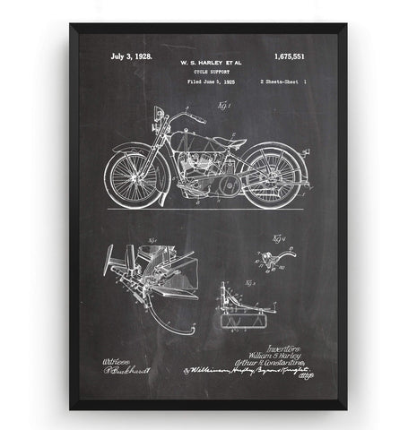 Harley Davidson Cycle Support Patent Print - Magic Posters
