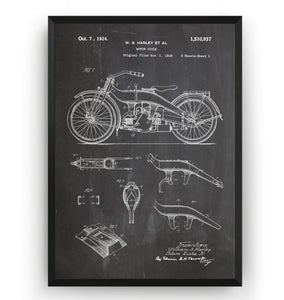 Harley Davidson Motorcycle Patent Print - Magic Posters