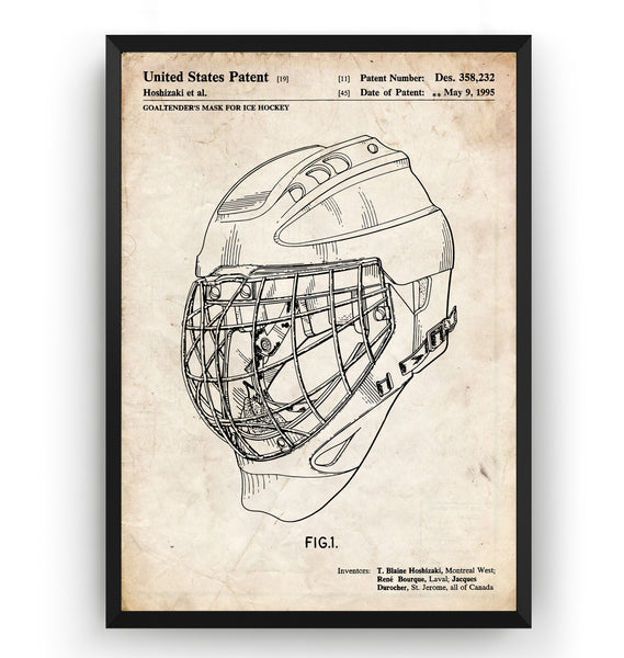 Ice Hockey Goalie Helmet 1995 Patent Print - Magic Posters