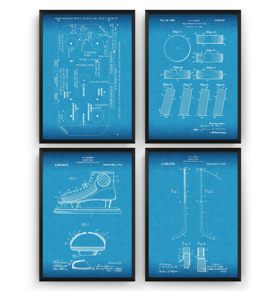 Ice Hockey Set Of 4 Patent Prints - Magic Posters