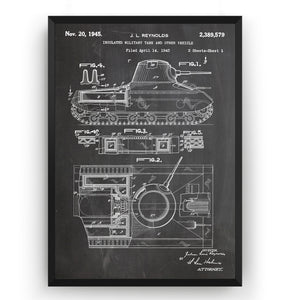 Insulated Miltary Tank 1945 Patent Print - Magic Posters