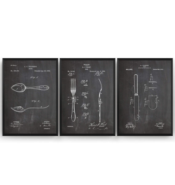 Knife, Fork and Spoon Set Of 3 Patent Prints - Magic Posters