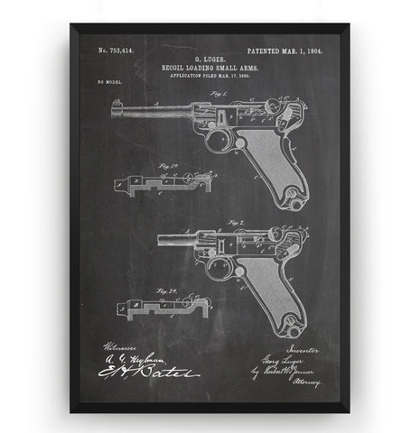 Luger Pistol 1904 Patent Print - Magic Posters