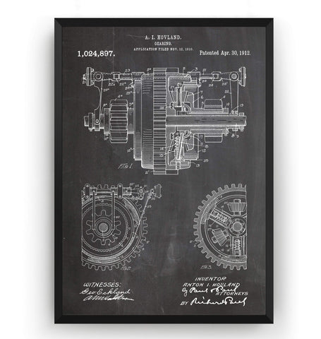 Mechanical Gearing 1912 Patent Print - Magic Posters