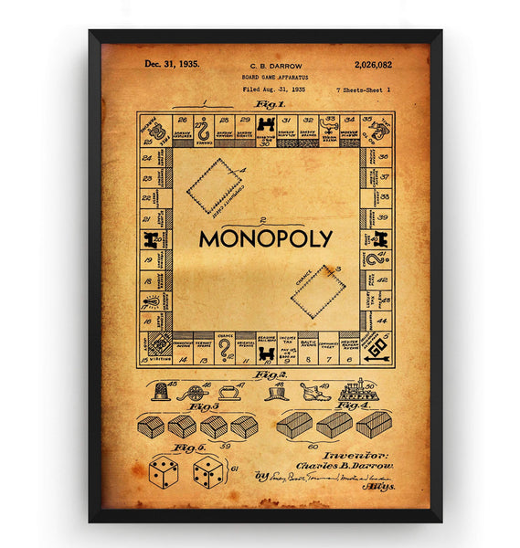Monopoly 1935 Patent Print - Magic Posters