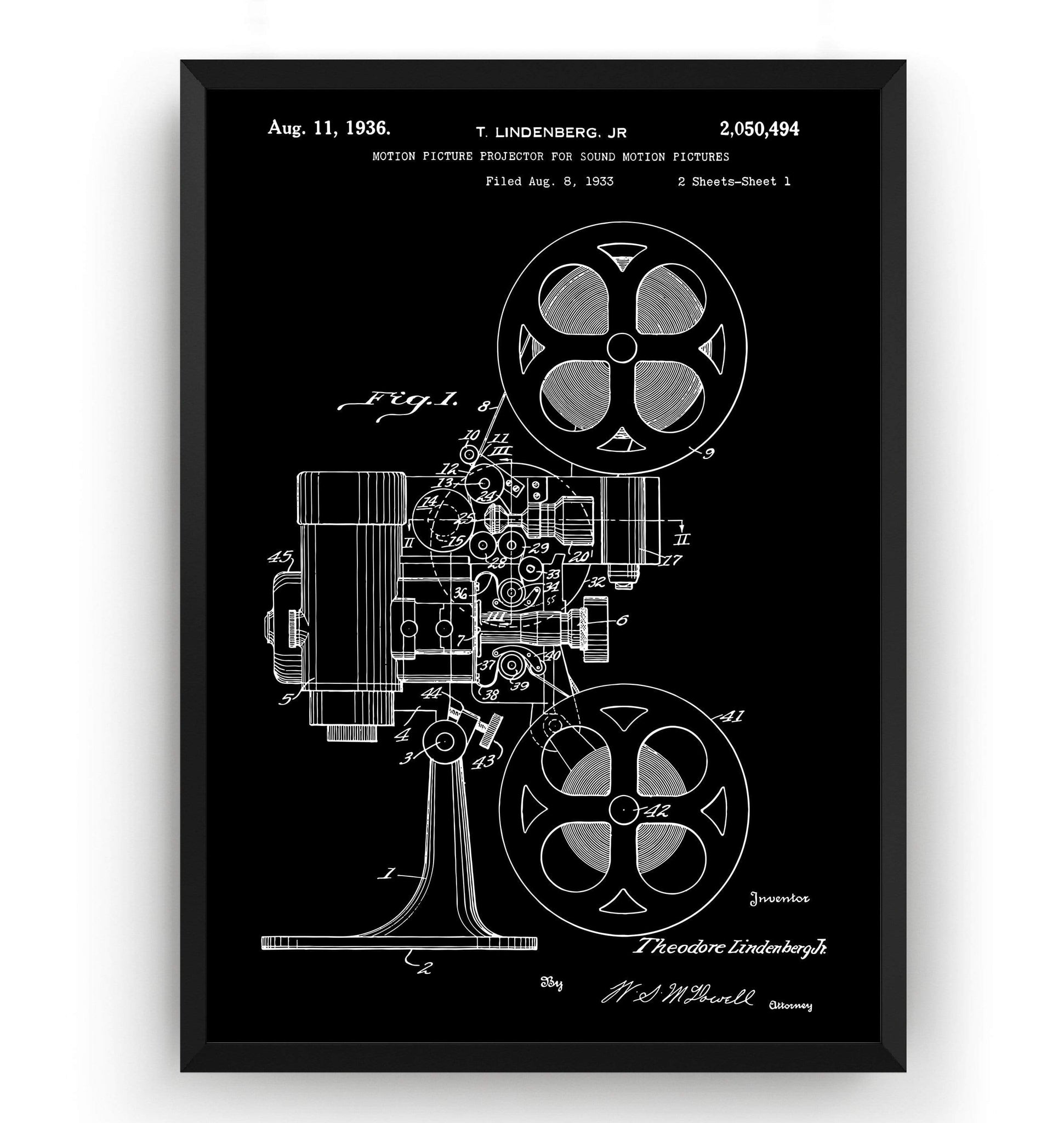Movie Projector 1933 Patent Print - Magic Posters