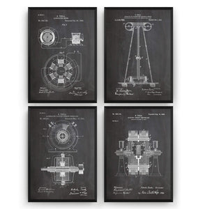 Nikola Tesla Set Of 4 Patent Prints - Magic Posters