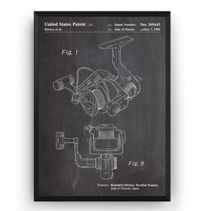 Open Face Spinning Fishing Reel 1996  Patent Print - Magic Posters