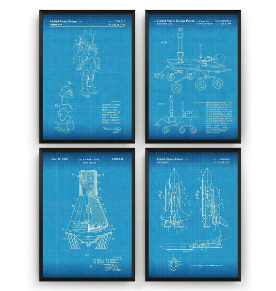Outer Space Set Of 4 Patent Prints - Magic Posters
