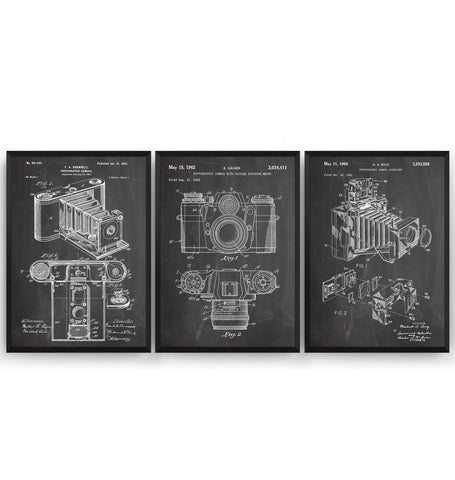 Photography Camera Set Of 3 Patent Prints - Magic Posters