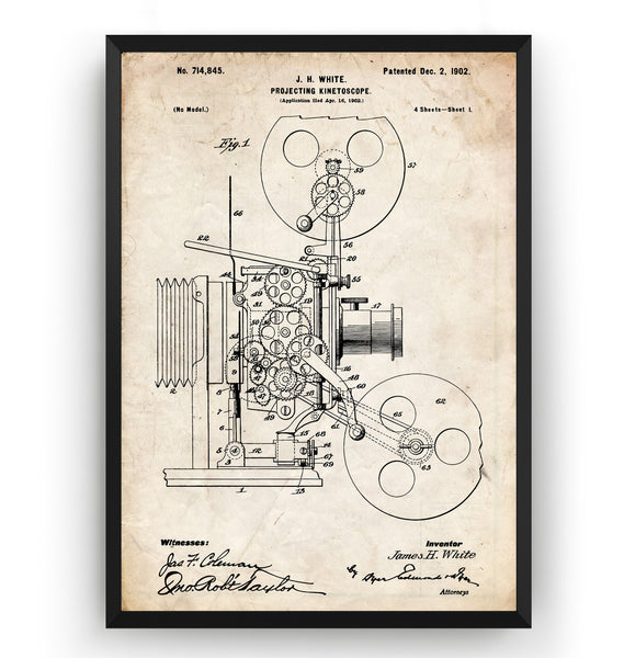 Projecting Kinetoscope 1902 Patent Print - Magic Posters