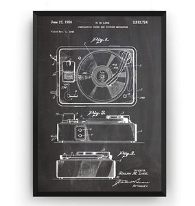 Record Player 1950 Patent Print - Magic Posters