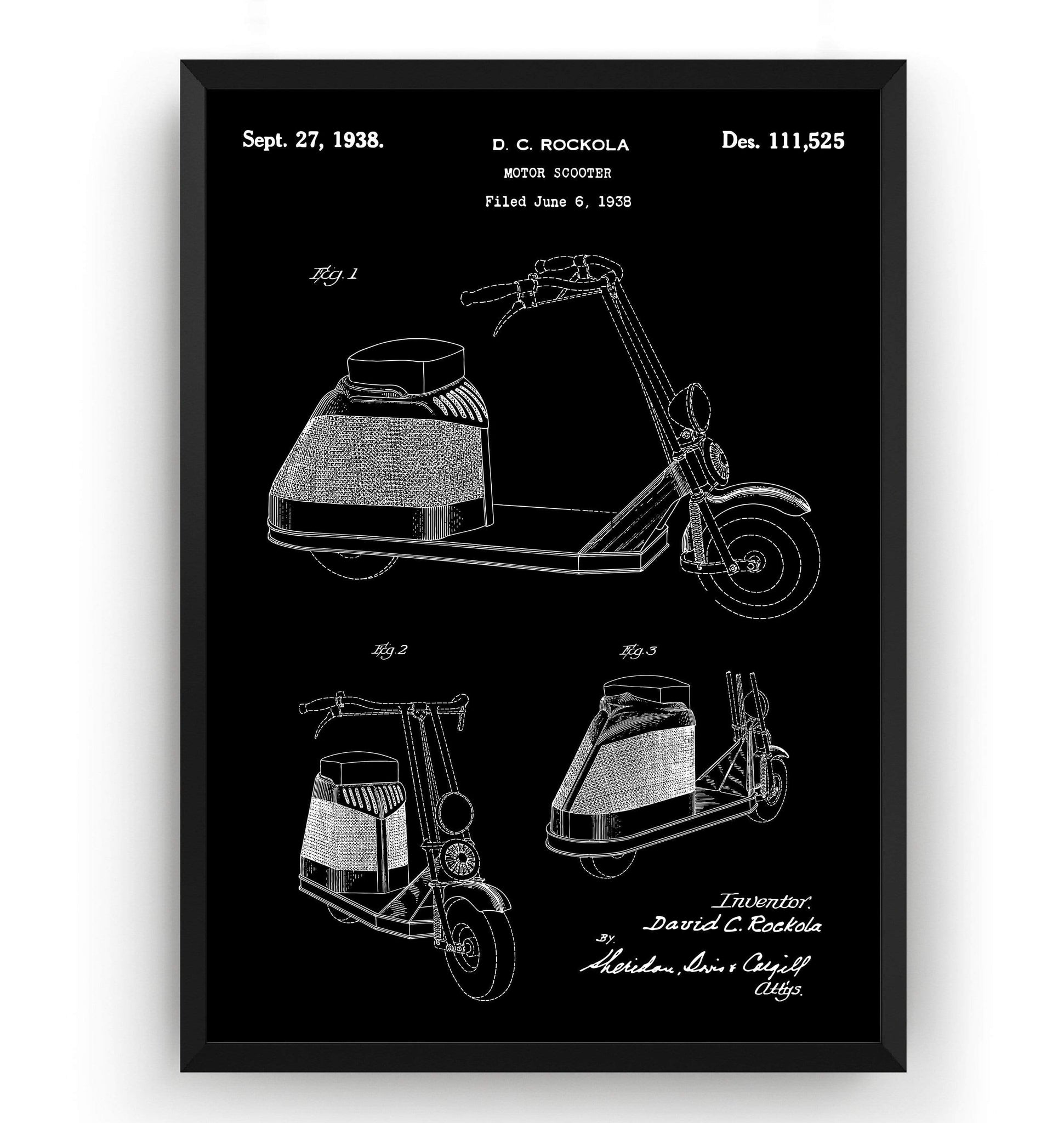 Rockola Scooter 1938 Patent Print - Magic Posters