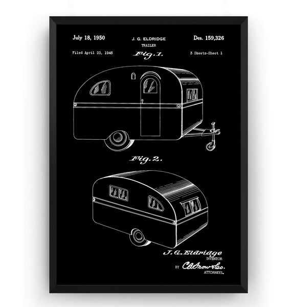 RV Trailer Caravan 1950 Patent Print - Magic Posters